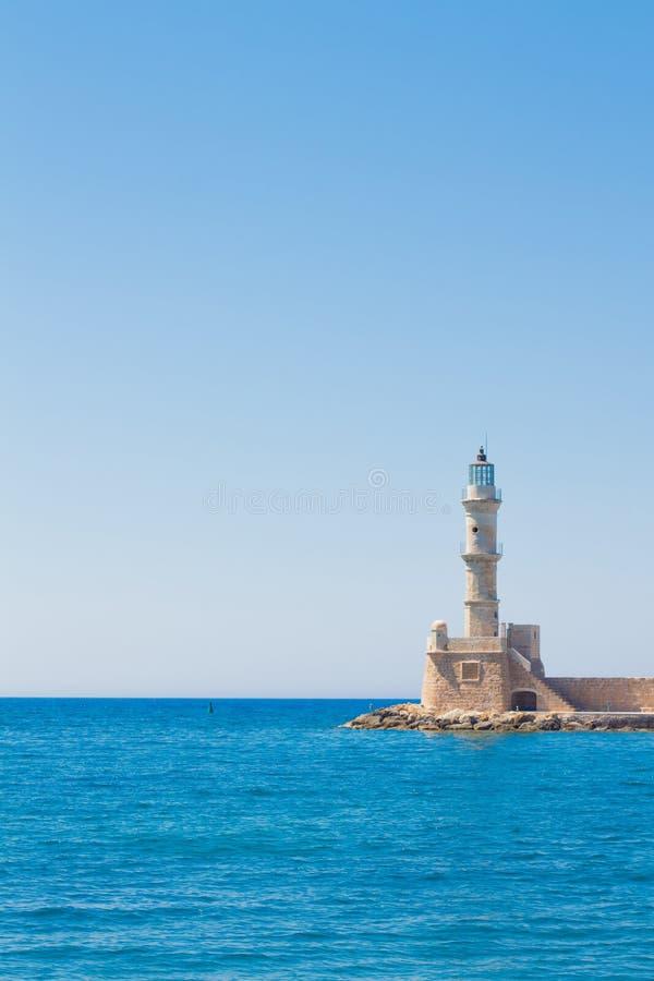 Faro veneciano en la entrada de puerto, Chania, Creta, Grecia, Europa imagenes de archivo