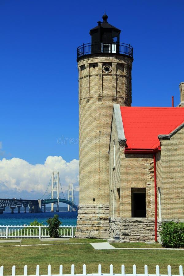 Faro viejo de la punta de Mackinac fotos de archivo libres de regalías