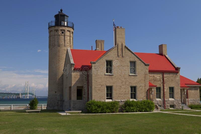 Faro viejo de la punta de Mackinac fotos de archivo