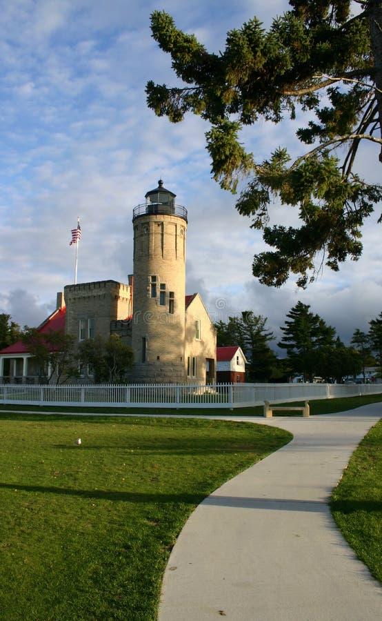Faro viejo de la punta de Mackinac imagen de archivo libre de regalías