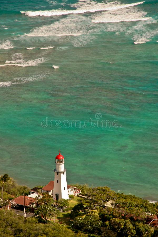 Faro visto de Diamond Head en Honolulu Hawaii foto de archivo libre de regalías