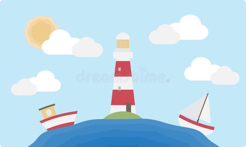 Faro y barcos planos ilustración del vector