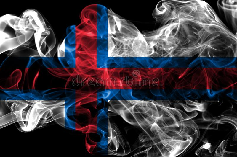 Faroe Island röker flaggan, Danmark beroende territoriumflagga royaltyfria foton