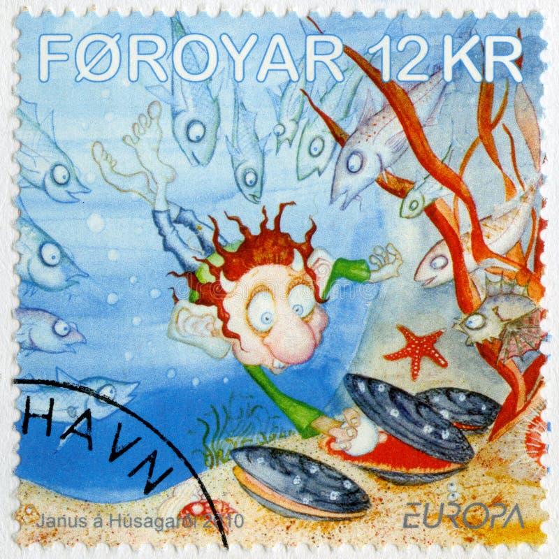 FAROE ISLAND - 2010: showEuropa, barnböcker royaltyfri fotografi