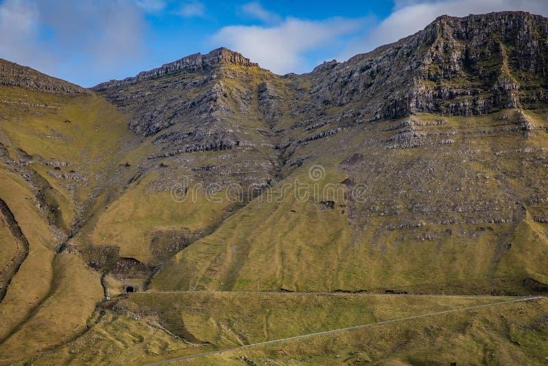 Beautfiul view at Faroe Islands. Faroe Islands, Beautiful view at islands, Vagar, Gasadalur tunnel stock image
