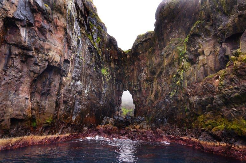 Faroe Islands boat trip, cliffs rocks, Denmark stock photo