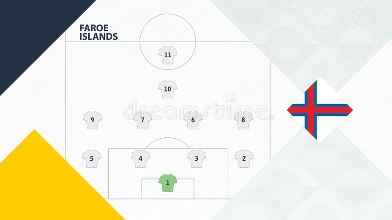 Faroe Islands team preferred system formation 4-4-1-1, Faroe Islands football team background for European soccer competition.  royalty free illustration