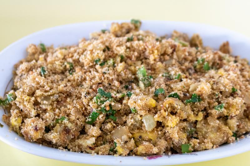 Farofa de ovos - scrambled eggs with flour - typical food of Brazil top view royalty free stock images