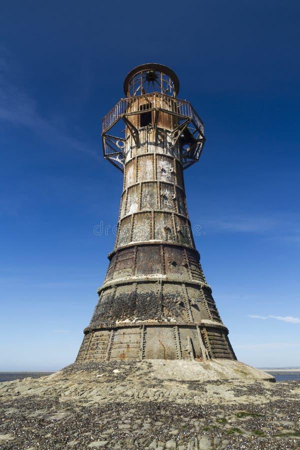 Farol abandonado arruinado, areias de Whiteford, Gower Peninsula, assim fotos de stock royalty free