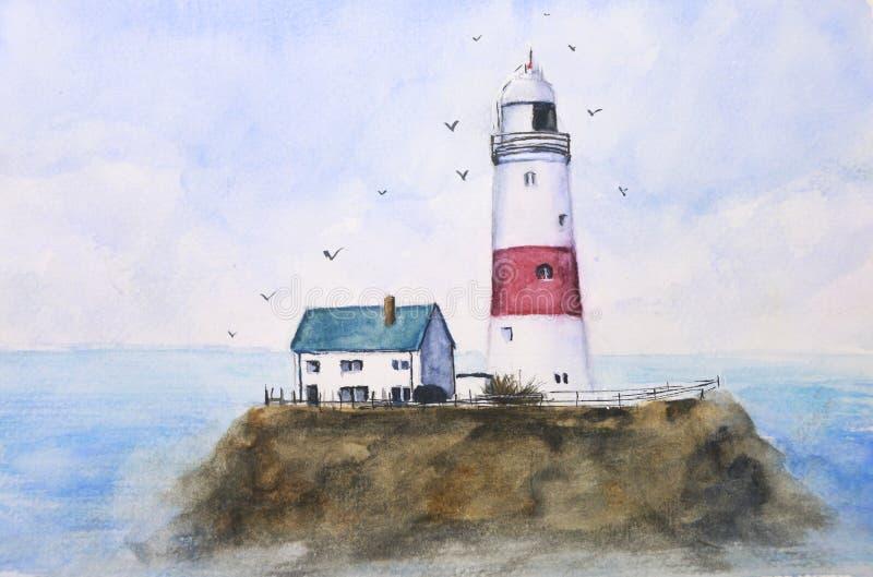 Farol azul do mar da paisagem da pintura da aquarela na ilha com os pássaros que voam no céu ilustração stock