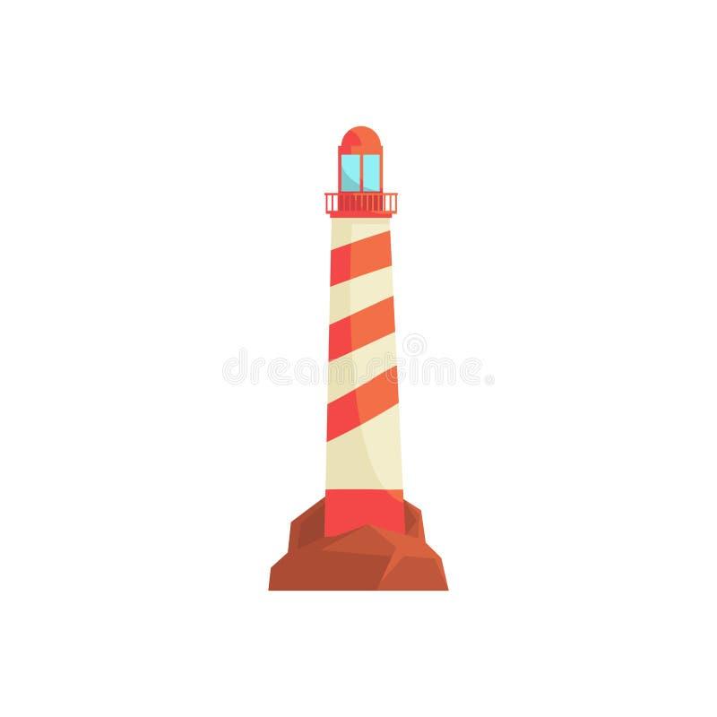 Farol, baliza do oceano, torre do holofote para a ilustração do vetor da orientação da navegação marítima ilustração stock