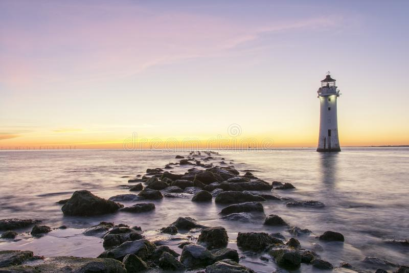 Farol Brighton Wirral England novo Reino Unido da rocha da vara foto de stock royalty free