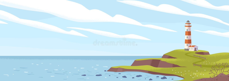 Farol com ilustração do vetor plano costeiro Ilhas faros, casas leves, paisagem marinha, construção de sinal na costa ilustração royalty free