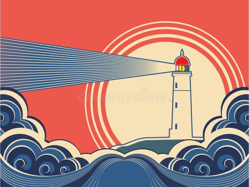 Farol com mar azul. Vetor ilustração stock