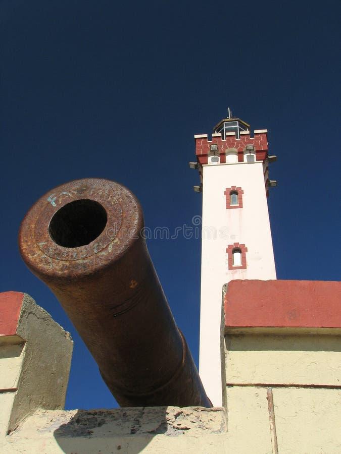 Farol com o canhão no La Serena, o Chile imagens de stock royalty free