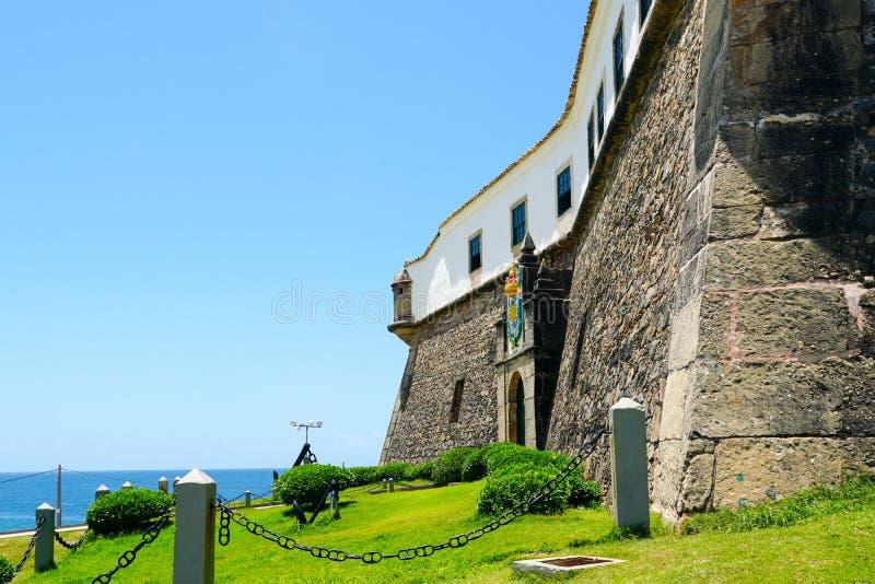Farol DA Barra Barra Lighthouse dans Salvador, Bahia, Brésil images stock