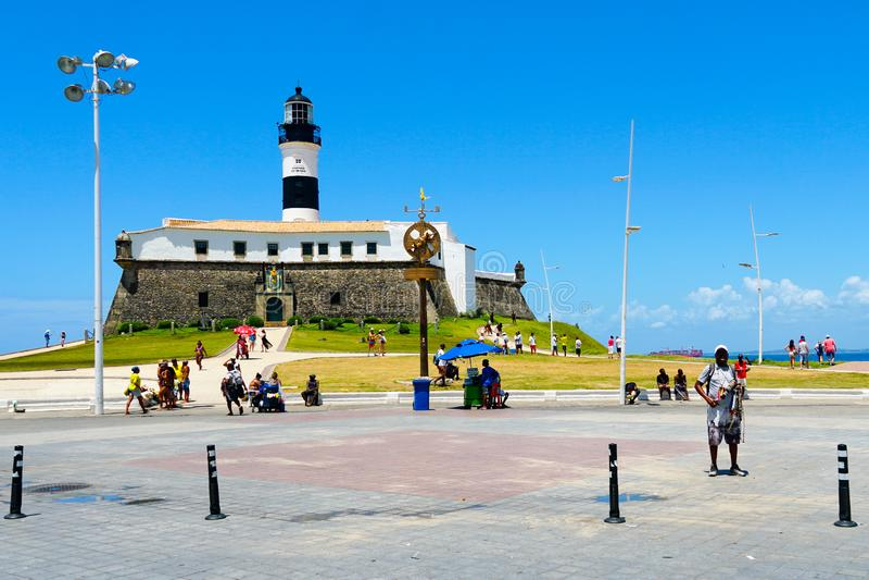 Farol da Barra Barra Lighthouse in Salvador, Bahia, Brazil. stock photography