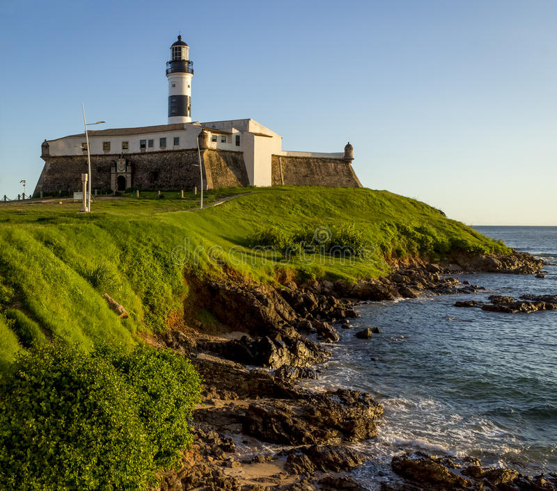 Farol da Barra. Panoramic view of Farol da Barra in the historic city of Salvador, Bahia, Brazil on a sunny summer afternoon stock images
