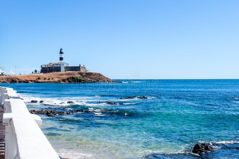 Lighthouse historic architecture of Salvador in Bahia, the Fort Bahia de Todos os Santos Bay. royalty free stock images
