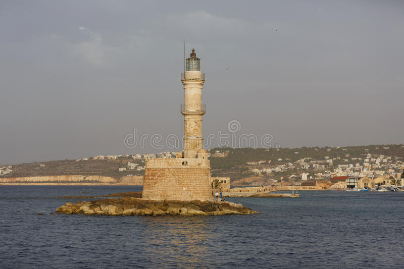 Farol da cidade de Chania, Grécia fotografia de stock royalty free