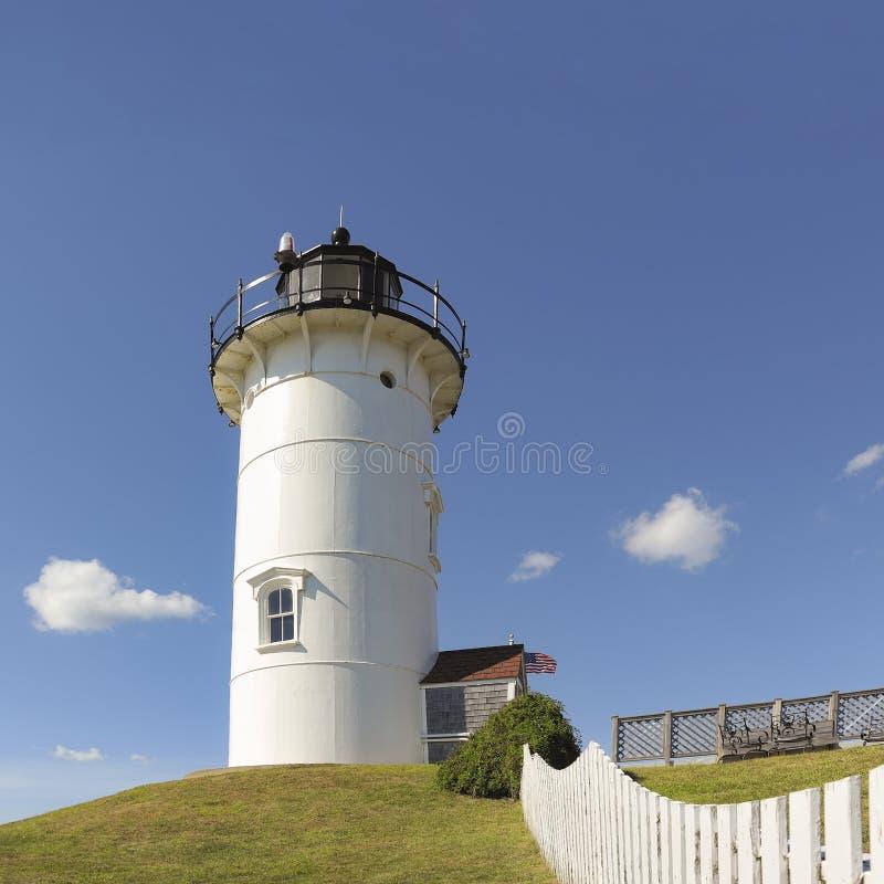 Farol da luz do ponto de Nobska, furo das madeiras, Falmouth, Cape Cod miliampère imagem de stock