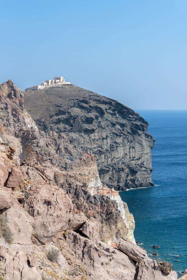Farol de Akrotiri - ilha de Santorini Cyclades - Mar Egeu - G fotografia de stock