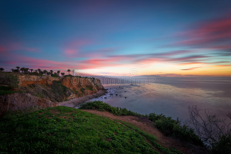 Farol de Califórnia do sul no por do sol fotos de stock