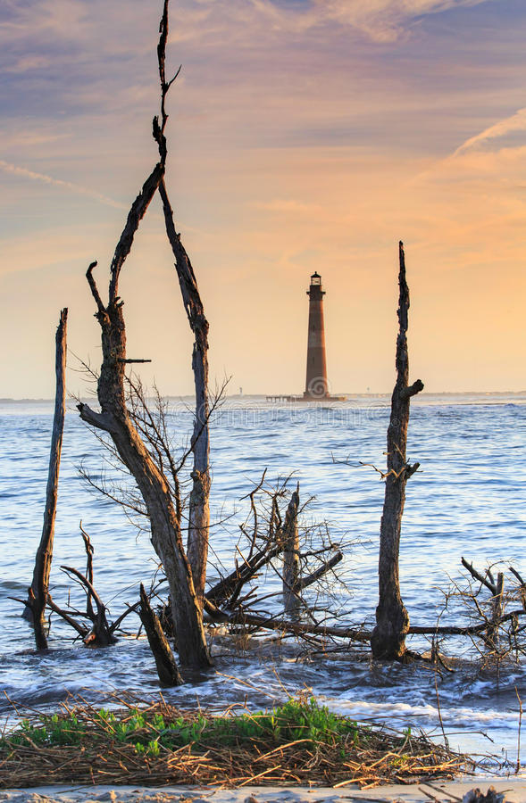Farol de Charleston South Carolina Morris Island foto de stock royalty free