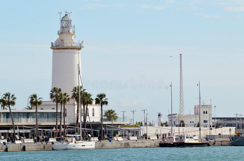 Farol de Farola do La na entrada ao porto de Malaga, Espanha fotografia de stock