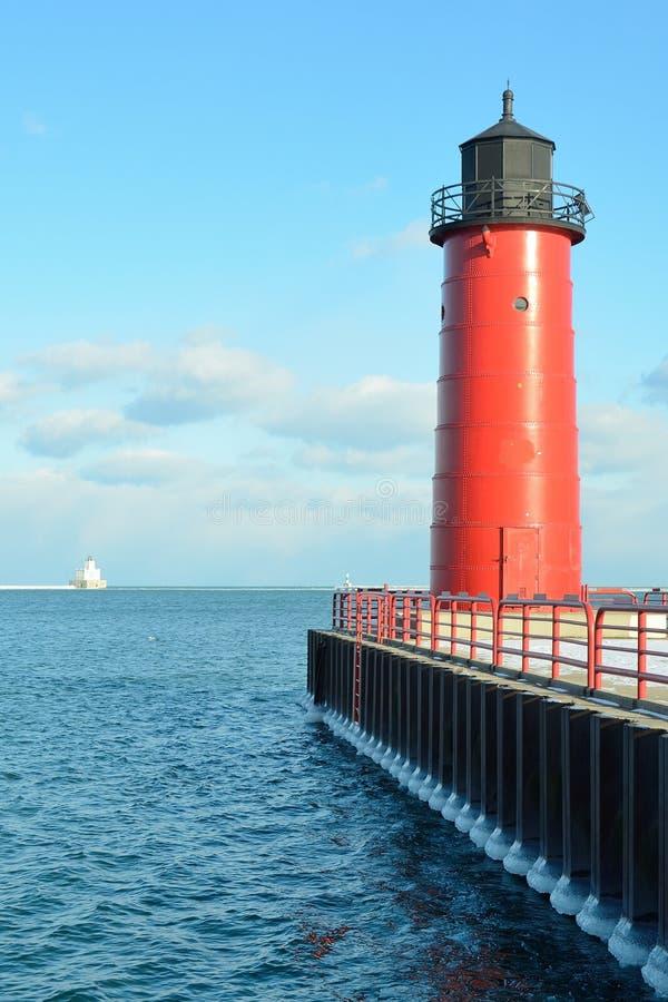 Farol de Milwaukee Pierhead fotografia de stock royalty free