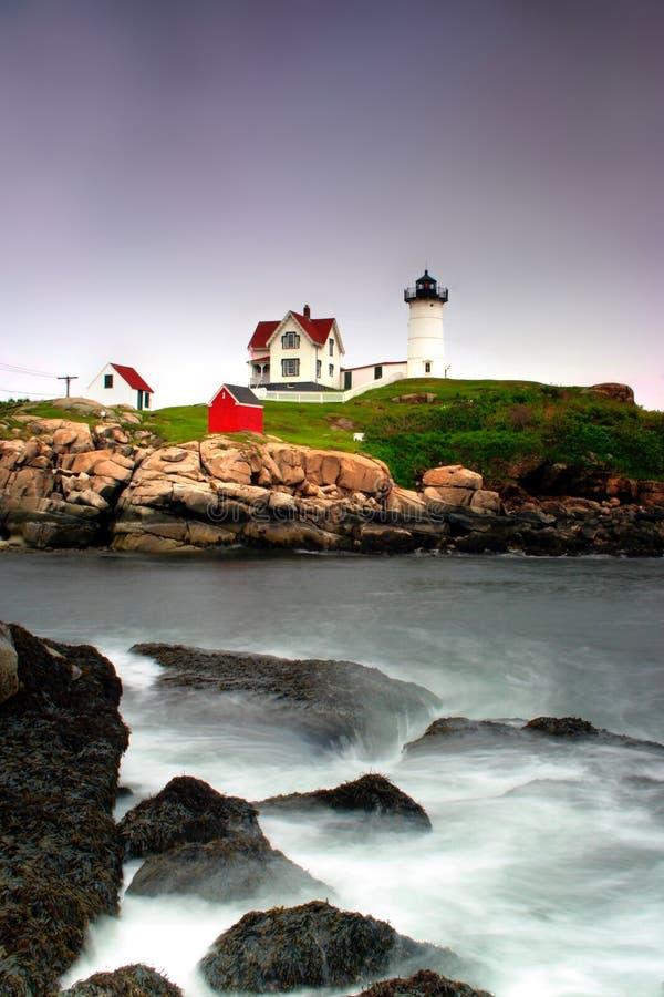 Farol de Neddick do cabo, Maine fotografia de stock
