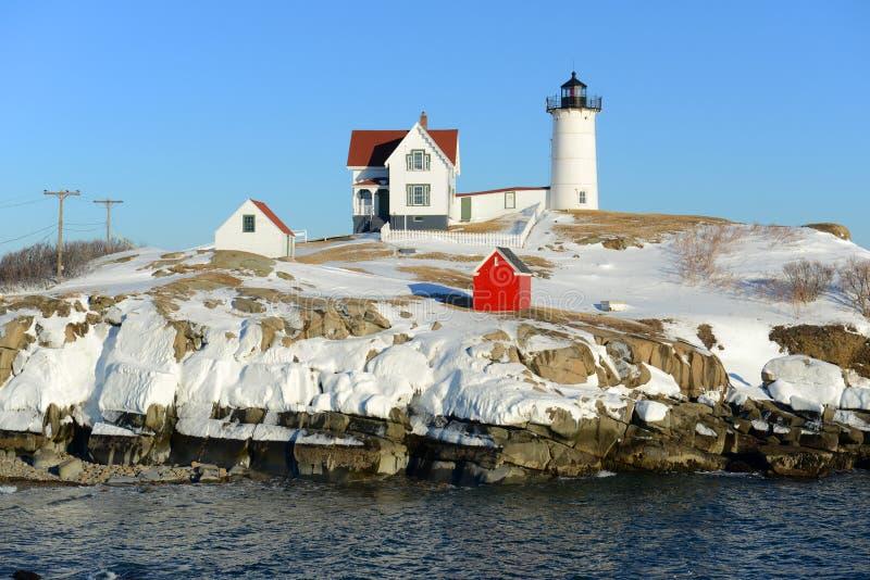 Farol de Neddick do cabo, vila velha de York, Maine foto de stock royalty free