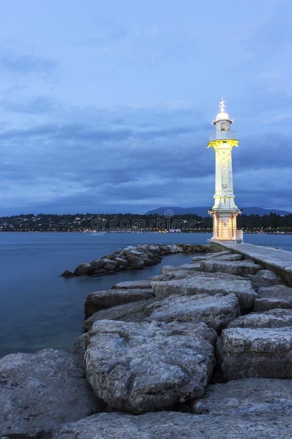 Farol de Paquis em Genebra em Suíça imagem de stock royalty free