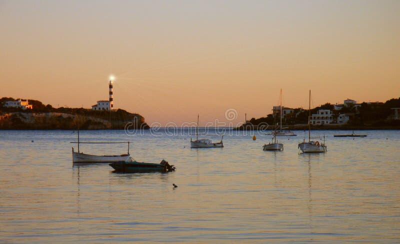 Farol de Porto Colom foto de stock
