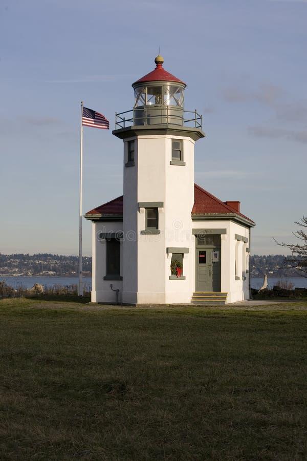 Farol de Robinson do ponto, Washington fotos de stock royalty free