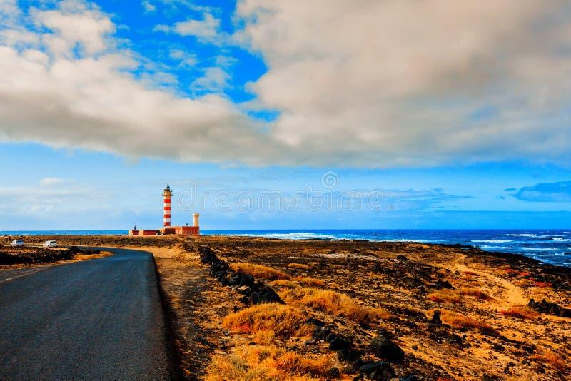 Farol de Toston no EL Cotillo em Ilhas Canárias de Fuerteventura fotos de stock