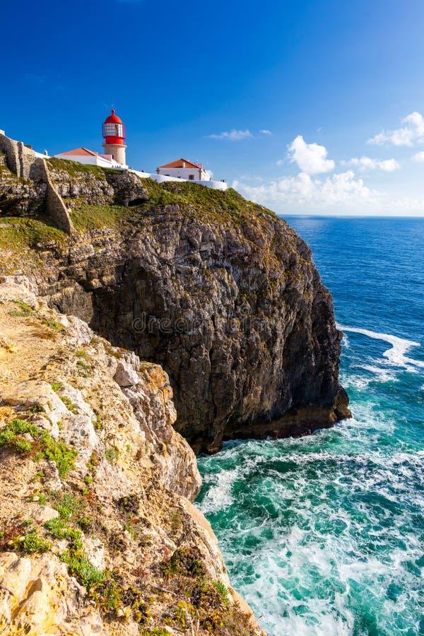 Farol do Cabo São Vicente, Sagres, Portugal Farol do Cabo São Vicente construída em outubro de 1851 Cabo de São Vicente é o foto de stock royalty free