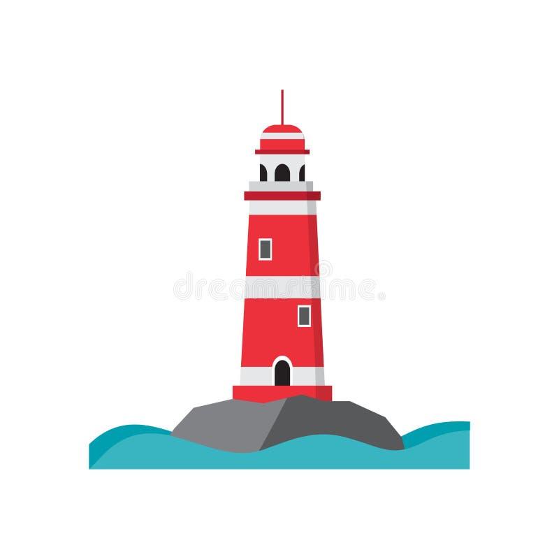 Farol do mar em uma ilha rochosa ilustração do vetor