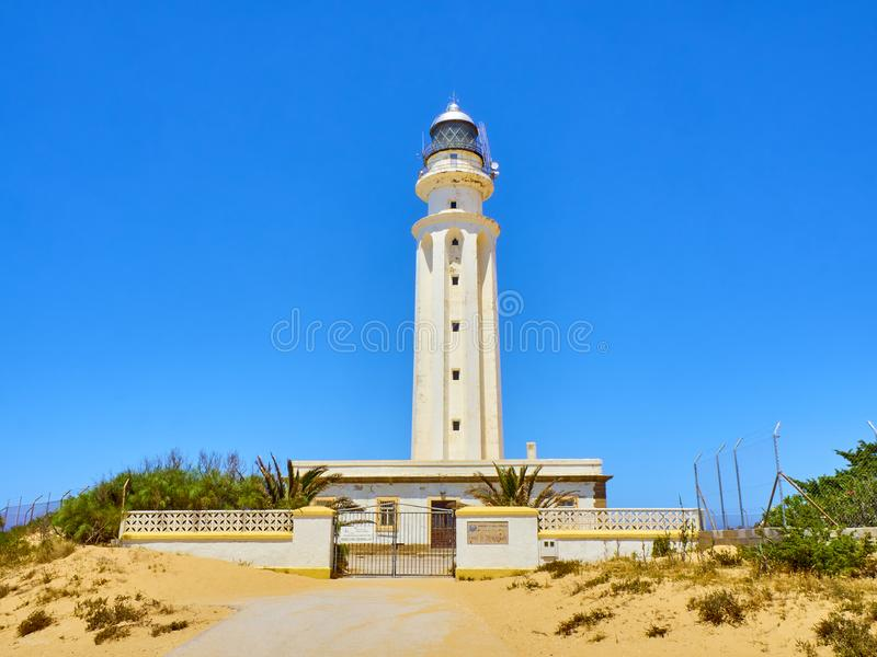 Farol do parque natural do cabo de Cabo de Trafalgar Barbate, Espanha imagens de stock