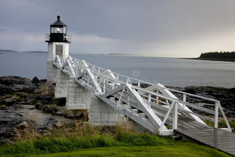 Farol do ponto de Marshall, Maine, EUA imagem de stock royalty free