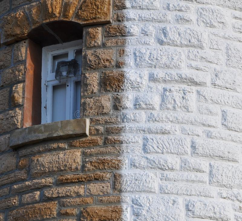 Farol do ponto do lenhador: Detalhe da janela foto de stock