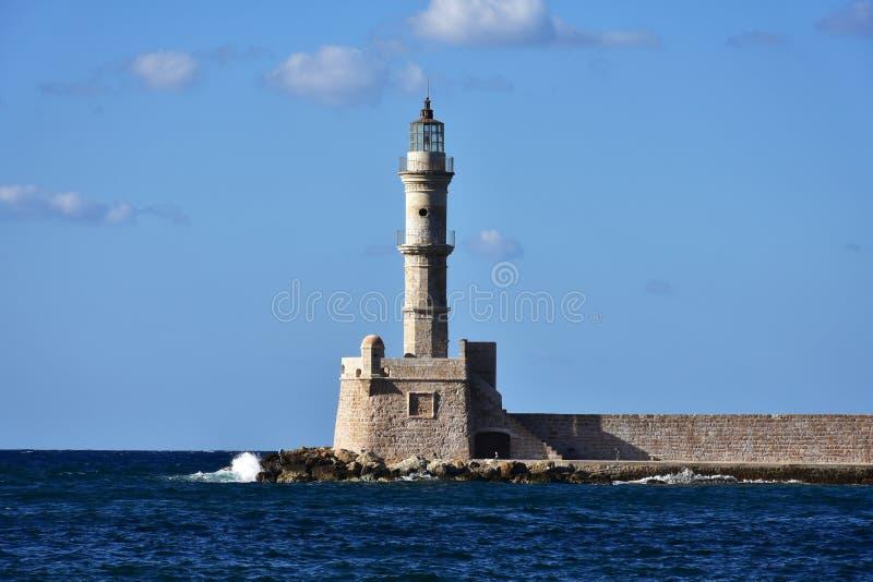 farol do porto Chania na Creta da ilha fotos de stock