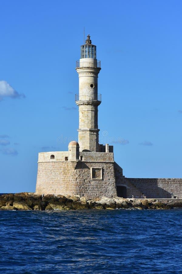 farol do porto Chania na Creta da ilha fotografia de stock