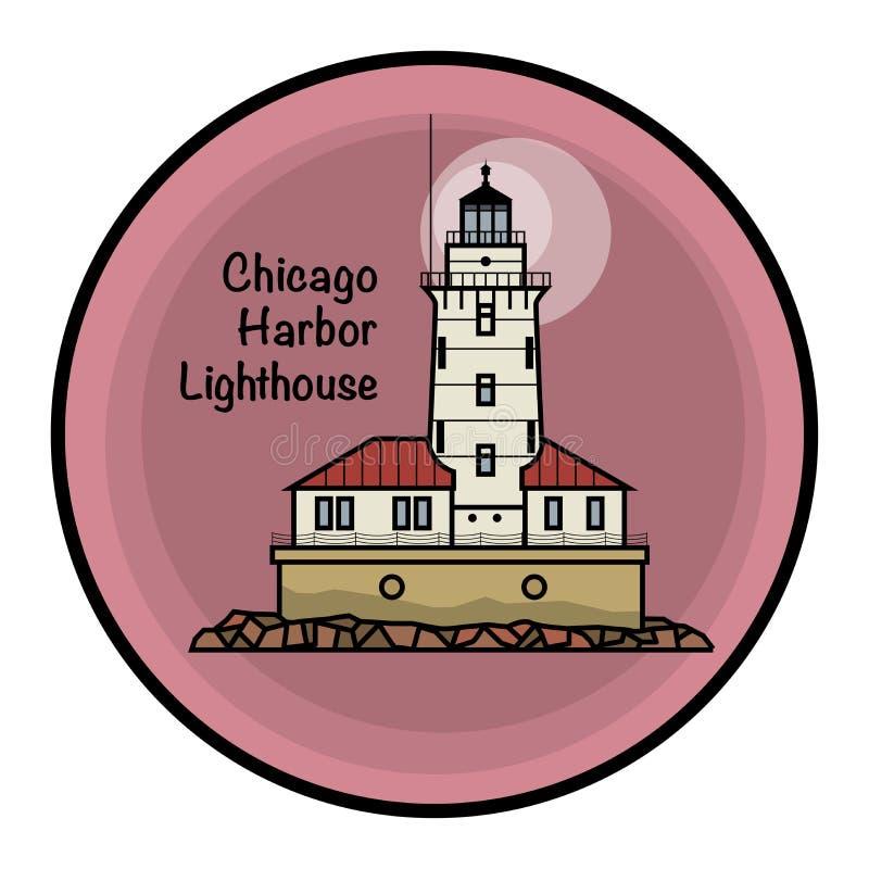 Farol do porto de Chicago ilustração do vetor