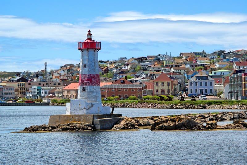 Farol do porto de St-Pierre fotos de stock royalty free