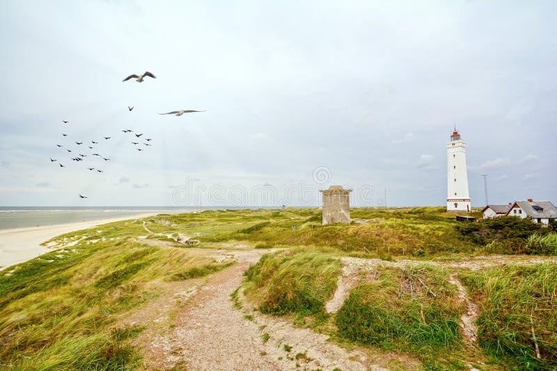 Farol e depósito nas dunas de areia na praia de Blavand, Jutland Dinamarca imagens de stock royalty free