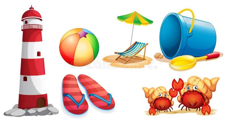 Farol e tipos diferentes de artigos da praia ilustração royalty free