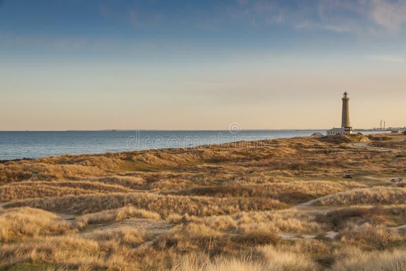 Farol em Skagen em Dinamarca fotos de stock royalty free