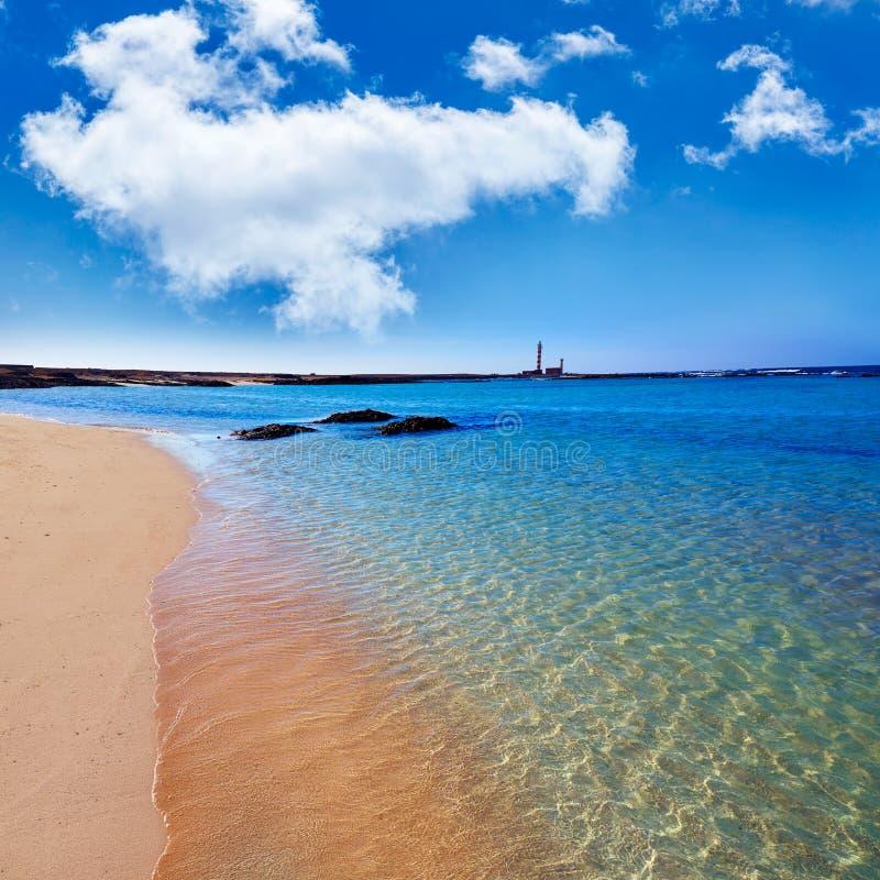 Farol Fuerteventura de Toston da praia do EL Cotillo foto de stock