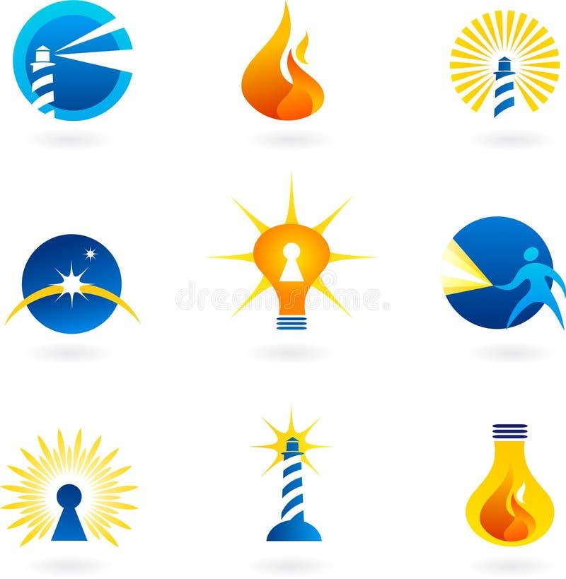 Farol, lâmpadas e ícones do incêndio ilustração stock